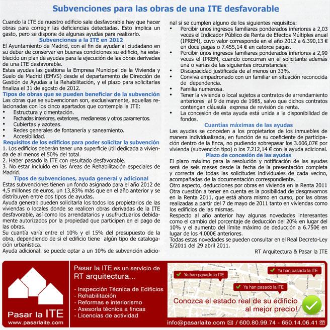 Ayudas ITE Madrid. Subvenciones para las obras de una ITE desfavorable.