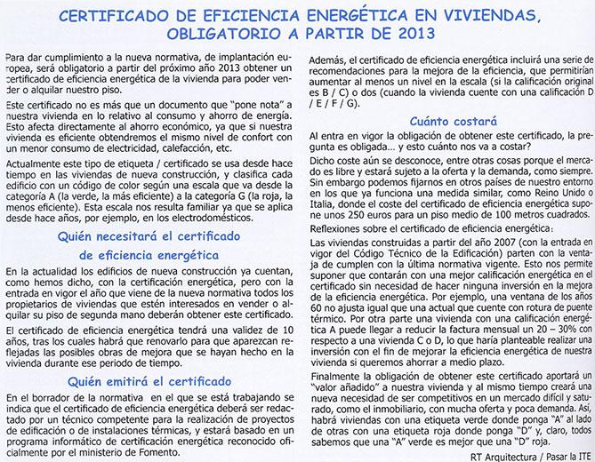 Certificado de eficiencia energética obligatorio a partir de 2013.