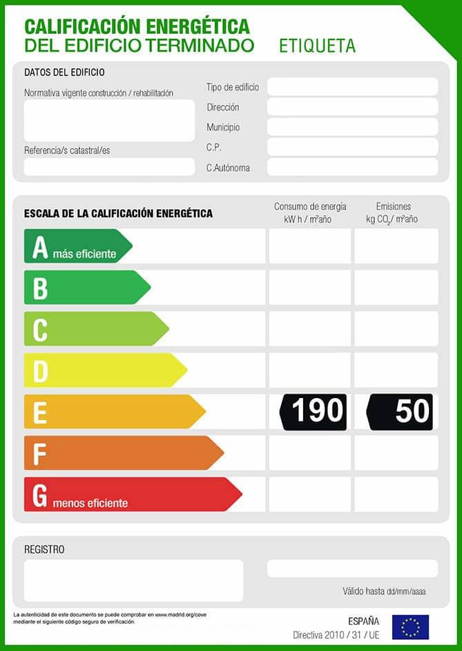 Etiqueta energética. Calificación energética.