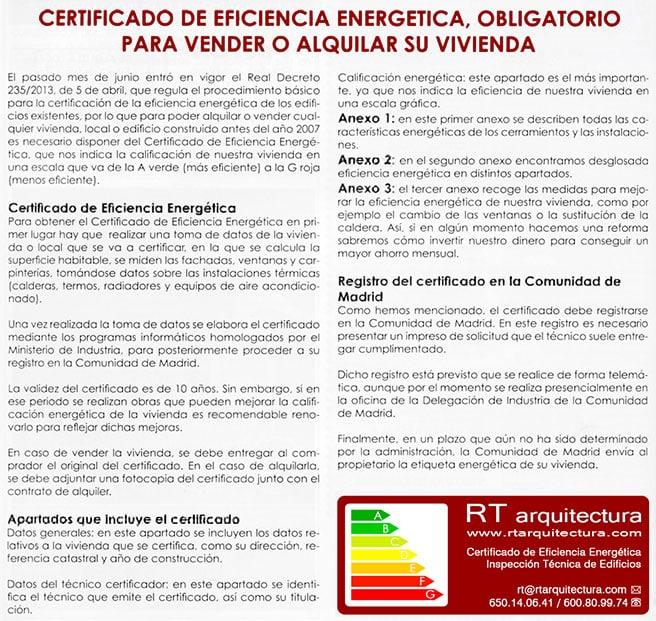 Art culo sobre el certificado de eficiencia energ tica for Articulos sobre arquitectura